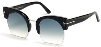 Tom Ford Savannah Semi-Rimless Cropped Round Sunglasses, Turquoise/Black