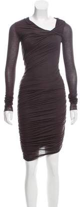Helmut Lang Ruched Long Sleeve Dress