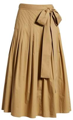 J.Crew Pleat Cotton Poplin Midi Skirt
