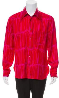 Gucci Silk Woven Button-Up Shirt
