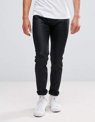 HUGO 734 Super Stretch Coated Jeans In Black