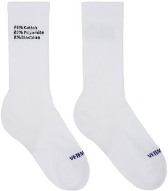 Vetements White Composition Socks $95 thestylecure.com