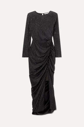 Veronica Beard Amara Crystal-embellished Ruched Silk Midi Dress - Black