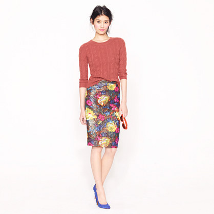 J.Crew Collection No. 2 pencil skirt in floral brocade