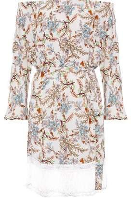 Maje Ridane Off-The-Shoulder Fringe-Trimmed Floral-Print Crepe Dress