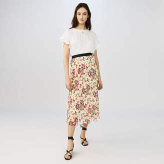 Maje Long pleated floral print skirt
