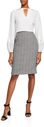 Lafayette 148 New York Textured Mid-Rise Pencil Skirt