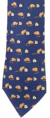 Hermes Animal & Cheese Print Silk Tie