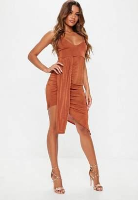 Missguided Rust Slinky Strappy Drape Side Midi Dress
