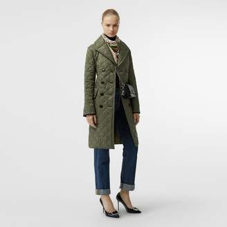 Burberry Lightweight Diamond Quilted Coat , Size: S, Green