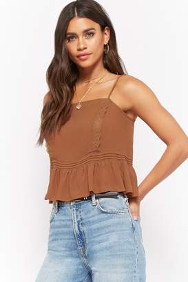 Forever 21 Semi-Sheer Shirred Lace Pintucked Cami