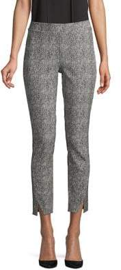 Halston H Herringbone Pull-On Skinny Ankle Slit Pants