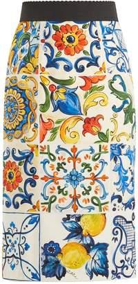Dolce & Gabbana Majolica-print silk-blend pencil skirt