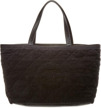 8476c5b0bc1546 Chanel Black Terry Cloth Large Beach Tote