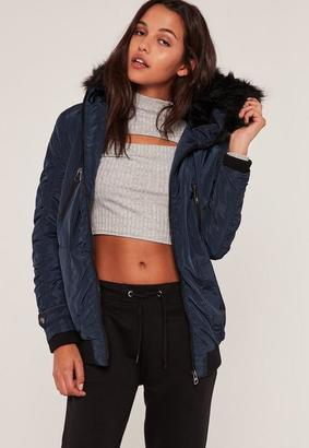 Navy Ruched Parka Coat $121 thestylecure.com