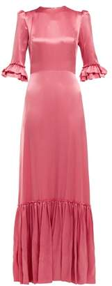 The Vampire's Wife Festival Ruffled Trimmed Silk Satin Maxi Dress - Womens - Pink