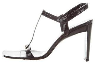Calvin Klein Patent Leather T-Strap Sandals