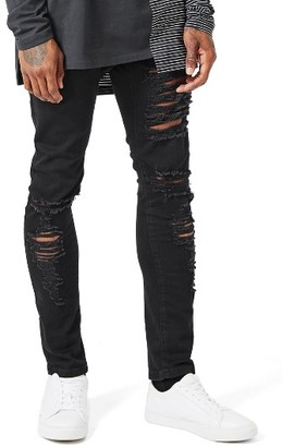 Men's Topman Aaa Collection Ripped Stretch Skinny Jeans $100 thestylecure.com