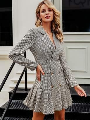 Shein Simplee Houndstooth Double Button Ruffle Hem Blazer Dress