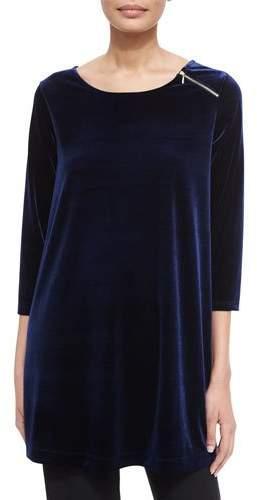 Joan Vass 3/4-Sleeve Velour Tunic W/ Zipper Detail, Petite