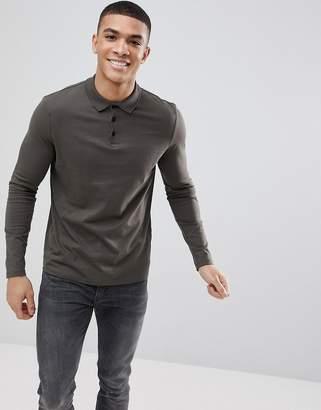 Asos DESIGN long sleeve jersey polo in khaki