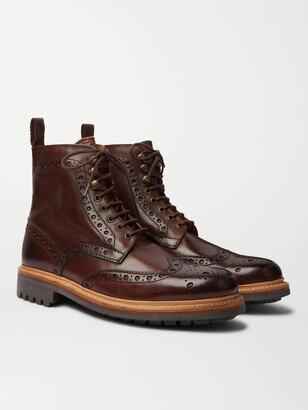 Grenson Fred Burnished-Leather Brogue Boots - Men - Brown