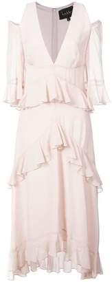 Nicole Miller cold-shoulder ruffle dress