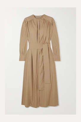Agnona Belted Gathered Cotton-poplin Midi Dress - Beige