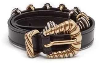 Etro Buckle Embellished Leather Waist Belt - Womens - Black