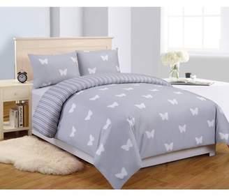 Duck River Wink Butterfly 3 Piece Full Comforter Set in Grey