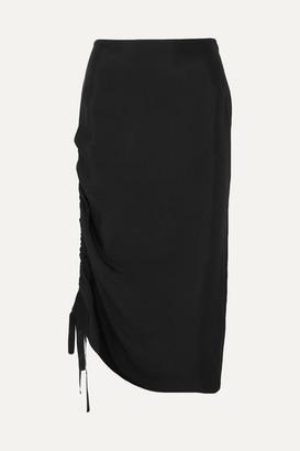 By Malene Birger Cisco Ruched Satin Midi Skirt - Black