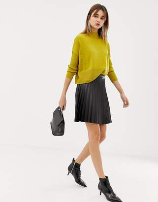 Pieces faux leather pleated skirt