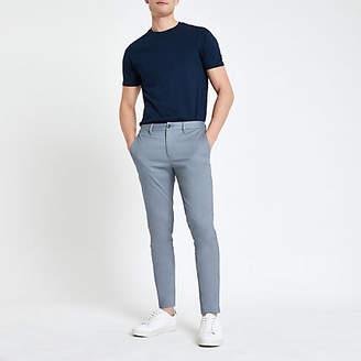 Mens Blue skinny fit chino trousers