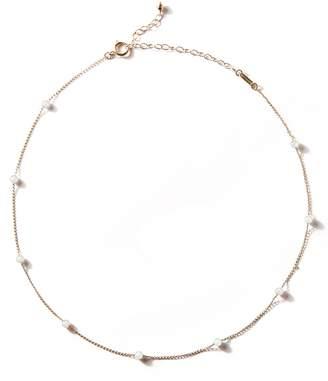 Mizuki Pearl Chain Choker Necklace - Yellow Gold