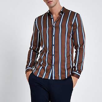 River Island Brown satin stripe long sleeve shirt