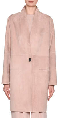 Giorgio Armani Laser-Cut Long Suede Jacket