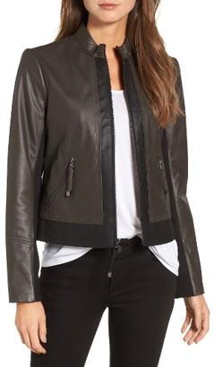 Women's Via Spiga Colorblock Leather Jacket $299 thestylecure.com