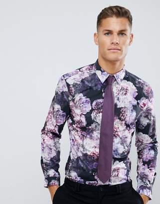 Burton Menswear skinny fit formal shirt with floral print in purple