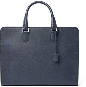Valextra Pebble-Grain Leather Briefcase - Navy