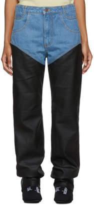 Telfar Blue and Black 3-Panel Jeans