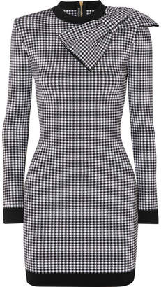 Balmain Bow-embellished Gingham Stretch-knit Mini Dress - Black