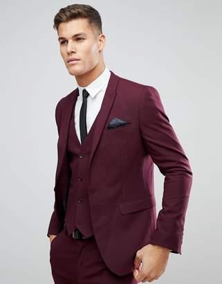 Asos Skinny Suit Jacket In Burgundy