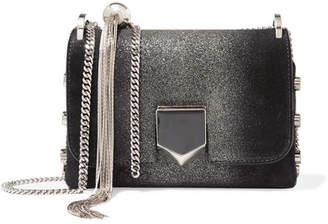 Jimmy Choo Lockett Mini Glittered Suede Shoulder Bag - Black