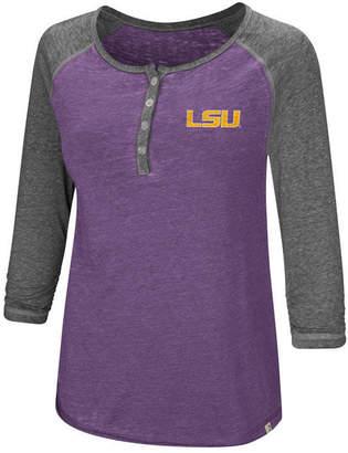 Colosseum Women's Lsu Tigers Burnout Heather Henley T-Shirt