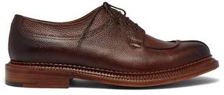 Grenson Percy Apron Leather Derby Shoes - Mens - Dark Brown
