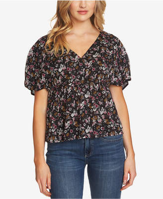 CeCe Printed Surplice Top