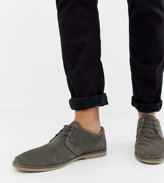 Asos Design DESIGN Wide Fit derby shoes in gray suede with piped edge