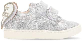 Glittered Sneakers W/ Heart Patches