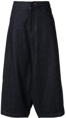 Y's drop crotch denim effect trousers