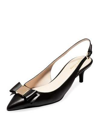 Cole Haan Tali Grand Bow Kitten-Heel Leather Pumps, Black